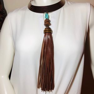 Chico's Silver, Turquoise & Leather Pendant Choker